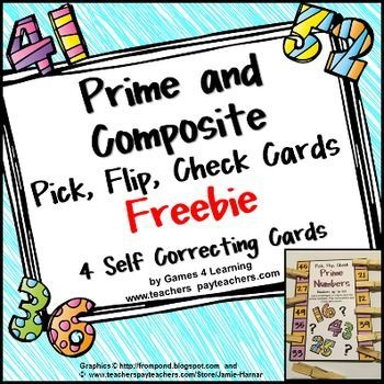 FREEBIE - Prime and Composite Numbers Pick, Flip and Check cards by Games 4 Learning - The fun way to review prime and composite numbers.