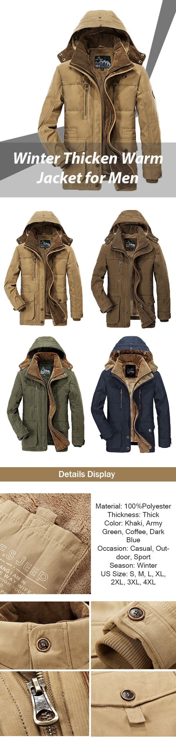 US$81.88 Winter Thicken Warm Multi Pockets Solid Color Detachable Hood Jacket for Men