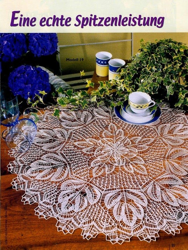 Nice large round knitted tablecloth