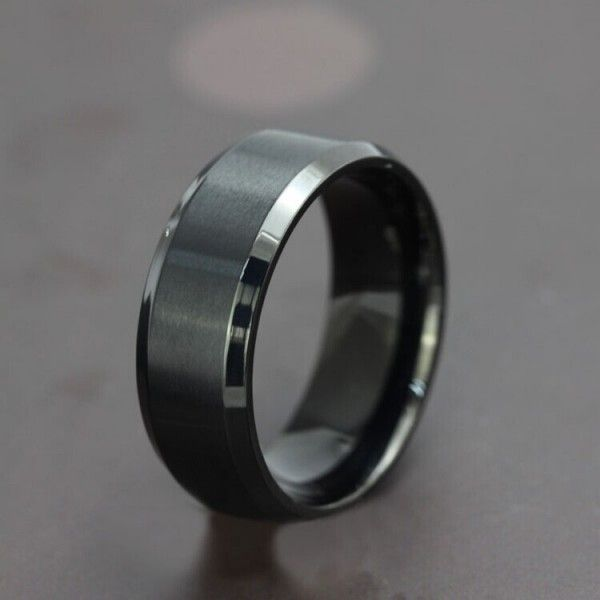 Simple Design Black Titanium Steel Men's Ring