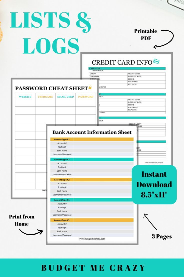 Lists Log Printables Bank Account Information Sheet Credit Etsy In 2021 Credit Card Info Credit Card Organizational Printables