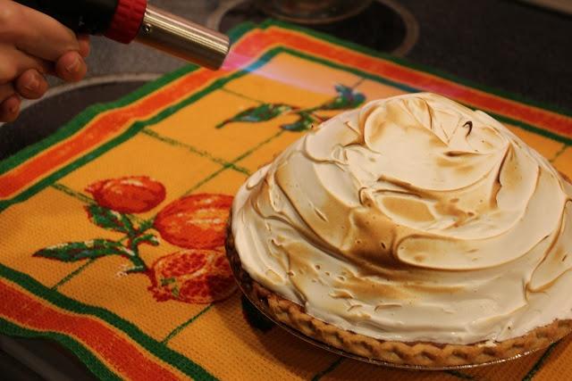 Deep dish Pumpkin pie topped with Meringue