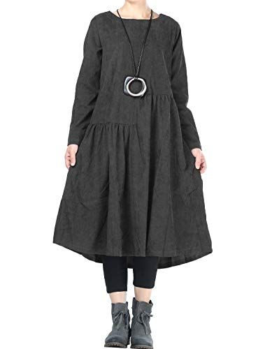 89ed58199e New Mordenmiss Mordenmiss Women๏ฟฝs Corduroy Pleated Dresses Swing Long  Sleeve Dress with Pockets Women s Fashion Clothing online.