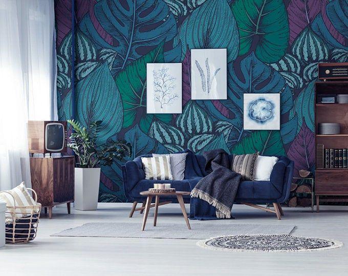 Colorful Flowers Wallpaper Self Adhesive Wallpaper Wall Etsy In 2020 Grey Wallpaper Bedroom Removable Wallpaper Room Wallpaper Designs