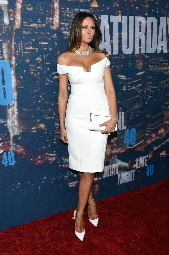 Melania Trump Off-the-Shoulder Dress - Melania Trump looked white-hot in a cleavage-revealing off-the-shoulder dress during the SNL 40th anniversary celebration.