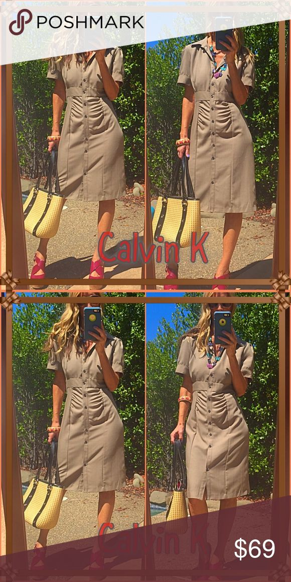 🌟CK🌟 Another divine piece from CK, this powerhouse greyish brown button up dress will have you on runway fire. It felt just as amazing on as it looks. NWT🌟🌟🌟🌟🌟 Calvin Klein Collection Dresses Midi