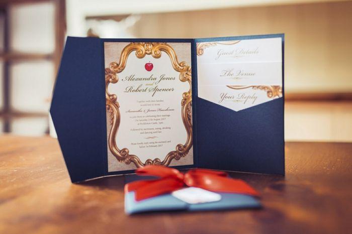 Annonce mariage faire part princesse dessin château Disney Blanche neige pomme rouge