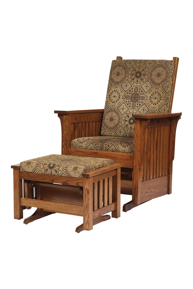 Oak Mission Glider with Ottoman | Amish Furniture | Solid Wood Mission Shaker Furniture | Chicago Area, Illinois