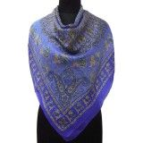 Human Print Blue Scarf Summer Head Neck Stole Pure Silk Women New Wrap Sarong
