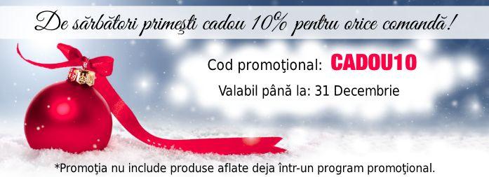 Pentru că sărbătorile de iarnă nu vin niciodată fără cadouri, îţi oferim 10% reducere pentru toate produsele care nu se află deja într-un program promoţional.  Tot ce trebuie să faci este să-ţi alegi lentilele preferate până pe 31 decembrie şi să introduci codul în căsuţa de voucher. http://www.optiness.ro/optiness-iti-ofera-reduceri-pentru-orice-comanda