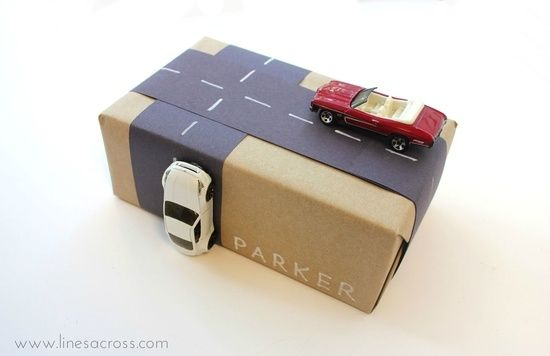 Wrap your gifts with toy cars and roads instead of ribbon and bows - 4 Interactive Gift Wrap Ideas for Kids by belphegor