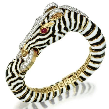 18 Karat Gold, Platinum, Enamel, Diamond and Ruby Zebra Bangle-Bracelet by David Webb