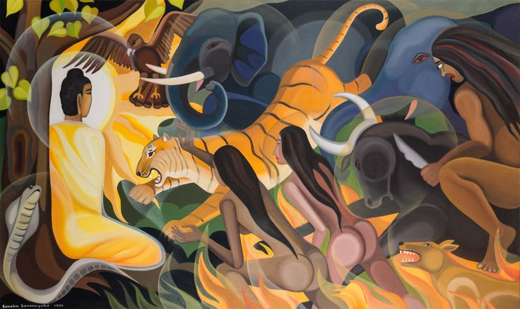 'Mara Yudhaya' by Senaka Senanayake, 1998.  Oil on canvas. (1900×1128)