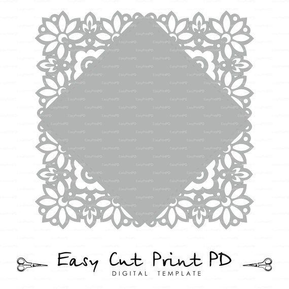 laser cut Boda invitación tarjeta sobre plantilla encaje por EasyCutPrintPD