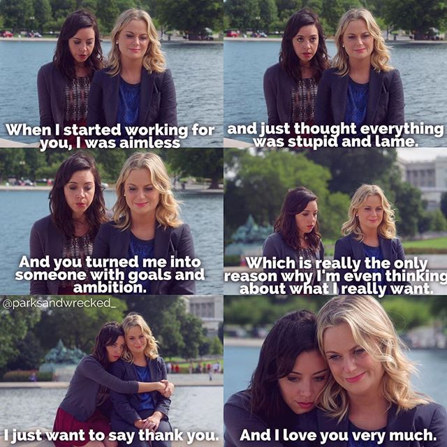 I love how their relationship grew over the course of the show 😊 #aprilludgate #leslieknope #aubreyplaza #amypoehler #parkandrec #parksandrecreation
