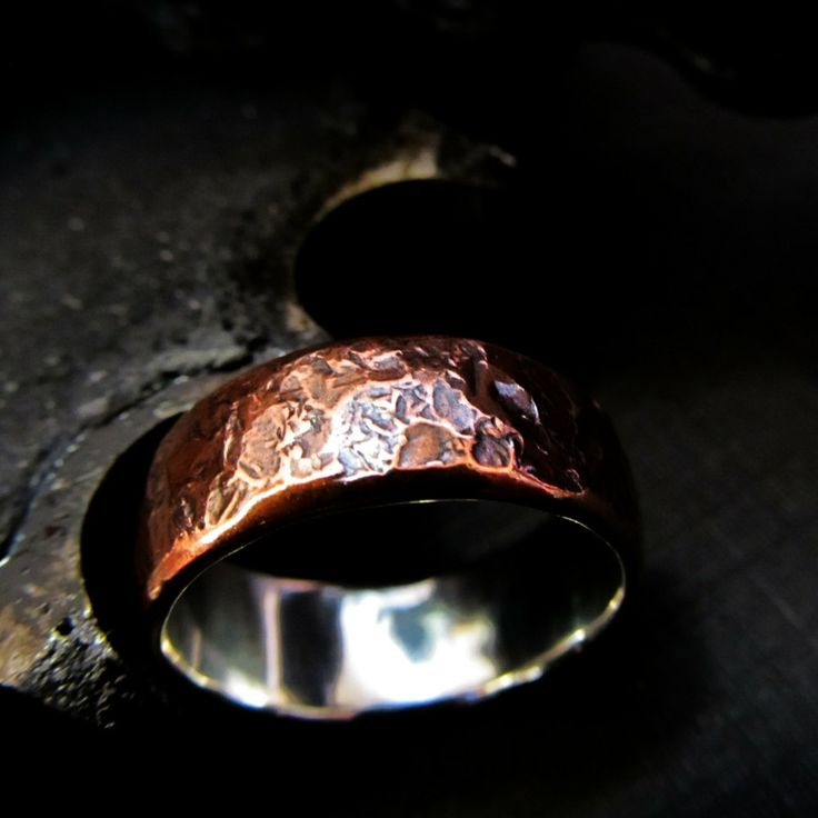 Mens textured copper silver wedding band gift ring rustic industrial steampunk made to order sizes 8-12 design 07. £124.00, via Etsy.