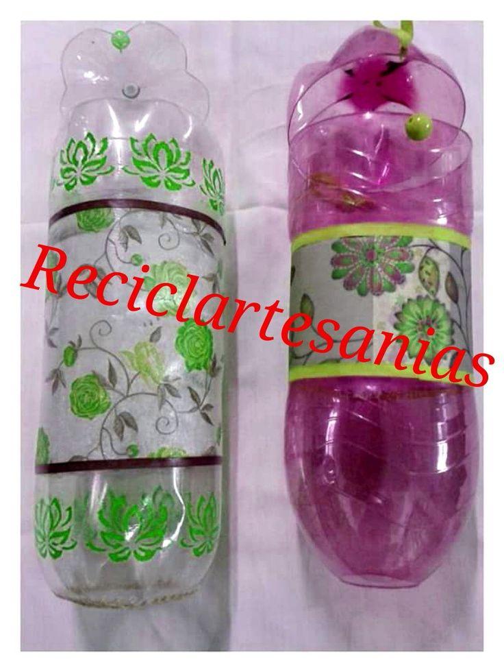 Porta bolsas hechas con botellas pet