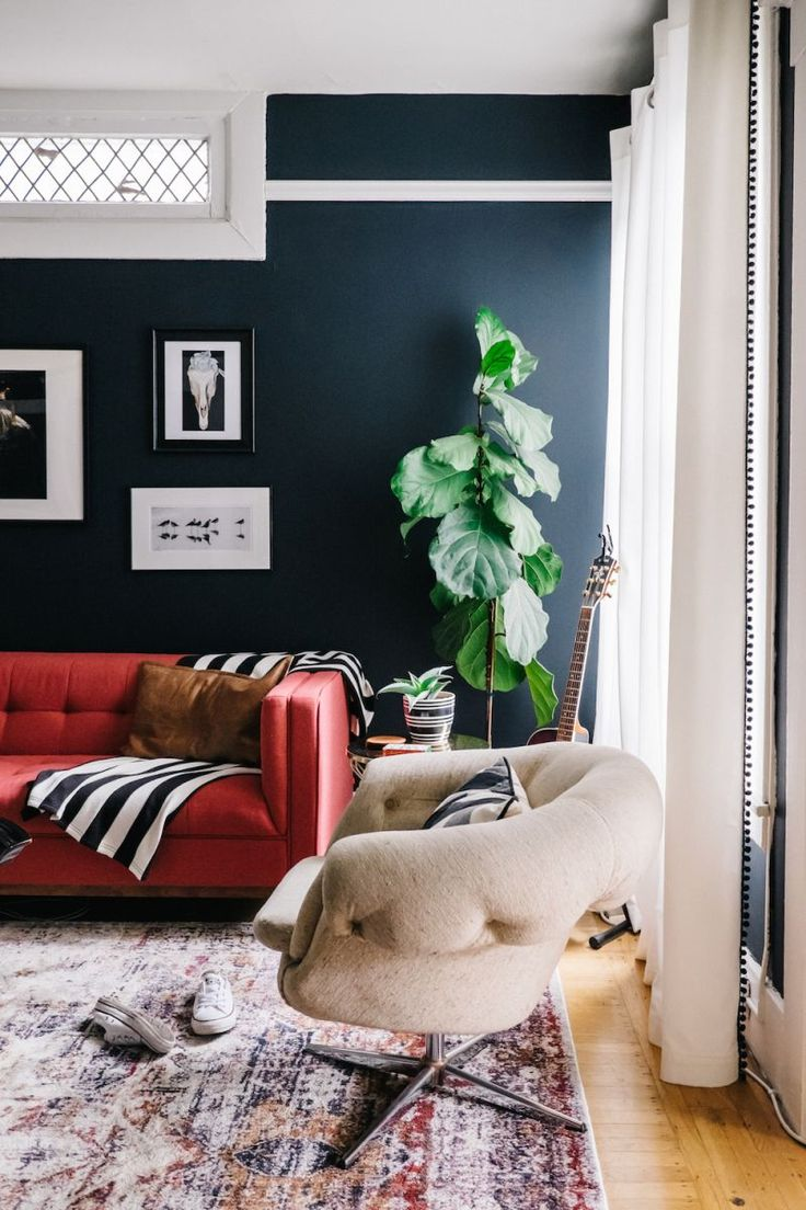 Love the wall & sofa colors together