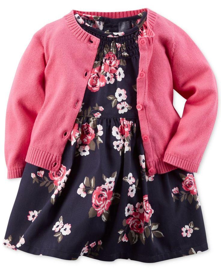 Carter's Baby Girls' Floral-Print Dress & Cardigan Set