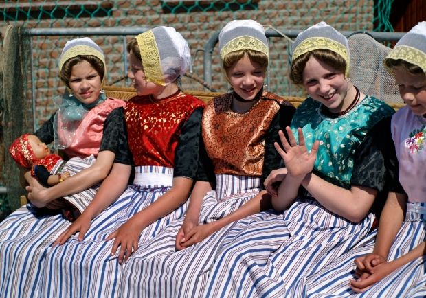 Young girls from Urk in the traditional costumes.