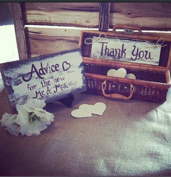 Wedding advice box with 100 hearts and rustic by SawmillCreations, $69.00
