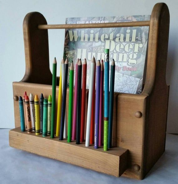 Coloring Book And Crayon Holder Home Work Holder Homeschool Etsy In 2021 Crayon Holder Art Caddy Colored Pencil Holder