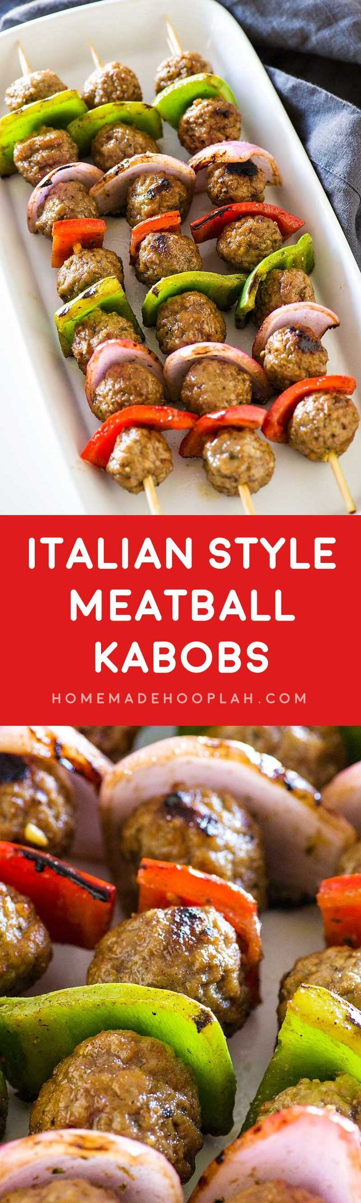 Italian Style Meatball Kabobs! Savory meatballs and classic kabob veggies marinated in an Italian style sauce. These meatball kabobs have twice the flavor for half the effort! nom