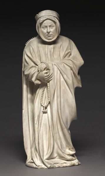 Mourner from the Tomb of Philip the Bold, Duke of Burgundy (1364-1404), 1404-1410 Claus de Werve (Netherlandish, 1380-1439) vizille alabaster, Overall: 41.70 x 16.60 x 11.70 cm (16 3/8 x 6 1/2 x 4 9/16 inches).