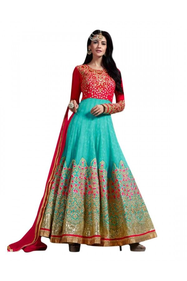 Multi-Colour Shine Chiffon Designer Anarkali Suit  - 71255
