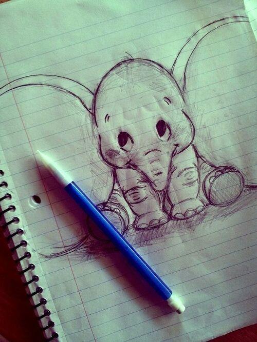elephant, drawing, and dumbo image