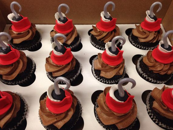 Captain Hook Fondant Cupcake Toppers on Etsy, $14.00