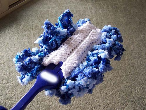 Crochet Swiffer Duster refills. When you're done dusting, throw in washing machine. http://www.ravelry.com/patterns/library/biffer-duster-wig