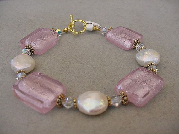 Pink Chunky Bracelet gold tone pink glass foil by Magicclosetbling