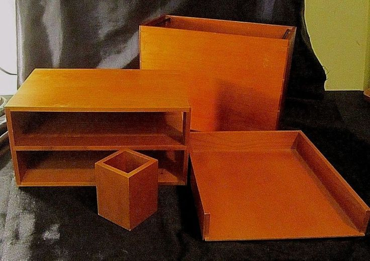 4 PC WOODEN DESK ACCESSORY SET Hanging File Box, Paper Sorter, Tray, Pen Holder #MilanoSeries $44.99