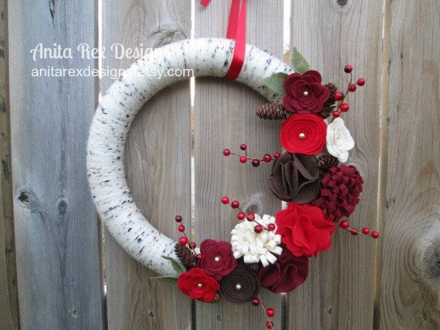 Christmas Wreath Christmas Yarn Wreath Birch by AnitaRexDesigns