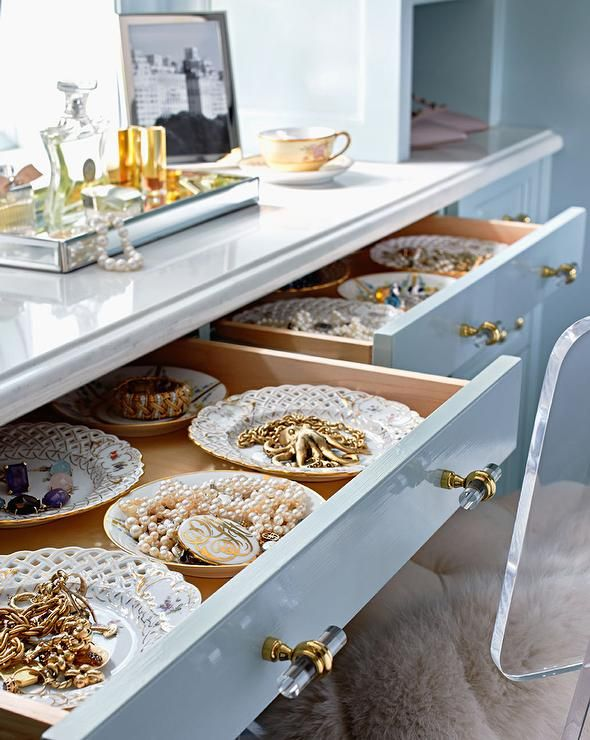Blue Dresser with Jewelry Drawers Blue Walk In Closet Lisa Mende Design lucite hardware pulls