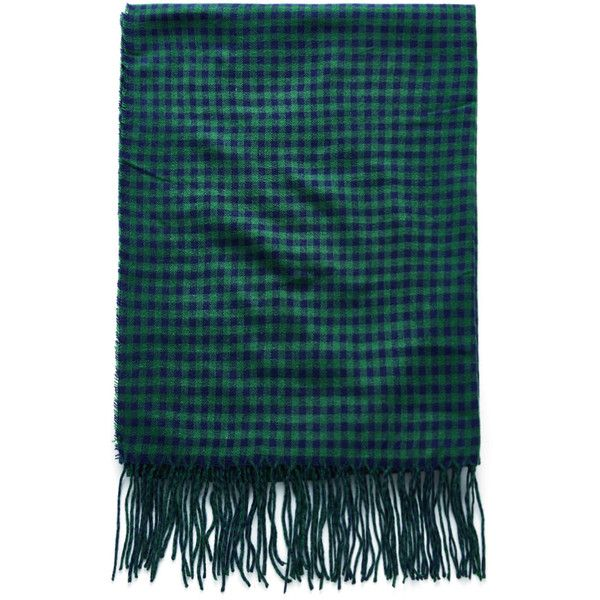 SheIn(sheinside) Fringe Trim Gingham Scarf (195 EGP) ❤ liked on Polyvore featuring accessories, scarves, green, tartan shawl, green scarves, plaid scarves, plaid shawl and tartan plaid shawl