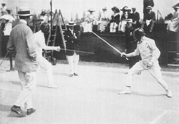 Fencers Jean de Mas Latrie of France and George Patton of the United States competing in the 1912 Summer Olympics, Stockholm, Sweden, 1912