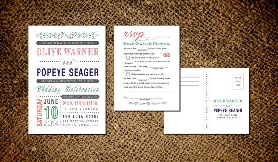 Classic Vintage Wedding Invitation & Mad Libs RSVP Card - Old Fashioned Style - Printable DIY. $45.00, via Etsy.