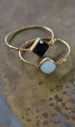Thin gold gem rings