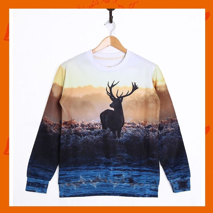 Deer Hoodie Material: Polyester / Cotton Feature: Anti-Pilling, Anti-Shrink, Anti-Wrinkle, Breathable, Eco-Friendly, Plus Size, Quick Dry, Windproof Size: S/M/L