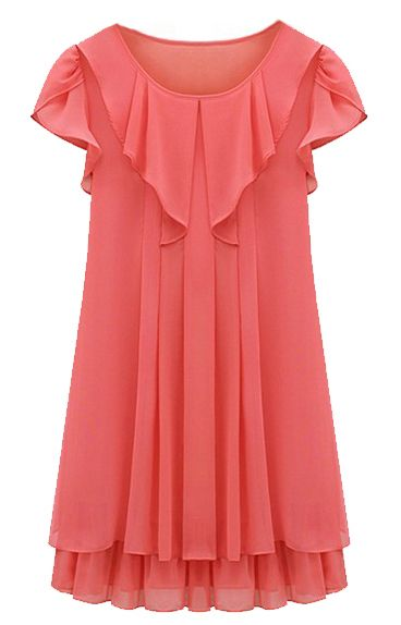Red Sleeveless Ruffles Pleated Chiffon Dress - Sheinside.com