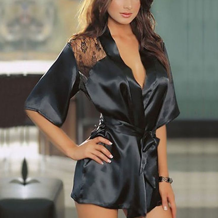 대한 세부 여자 섹시한 레이스 가운 관점 나이트 가운 잠옷 새틴 란제리 잠옷