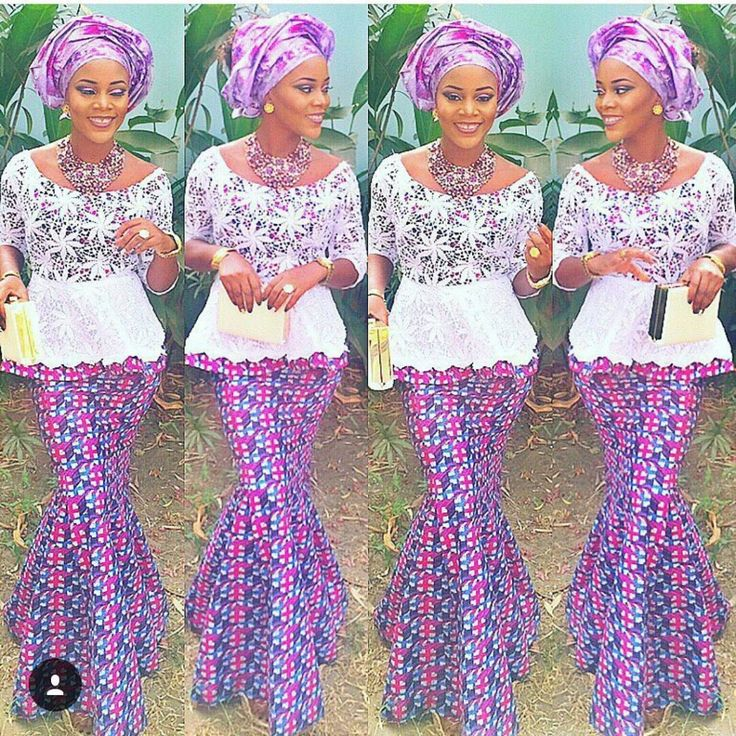 Ankara Skirt And Blouse With Lace