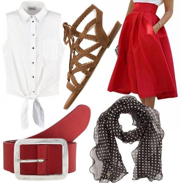 """Se anche tu (come Audrey Hepburn di """"Vacanze Romane""""), vuoi un outfit che sia da principessa, ma anche comodo, allora questo è il look giusto per te!!! Adatto per fare la turista nelle città d'arte, questo outfit è composto da camicia bianca senza maniche annodata in vita, gonna rossa in stile anni '50, cintura rossa, foulard nero a pois bianchi e infine sandali color cuoio con intrecci."""