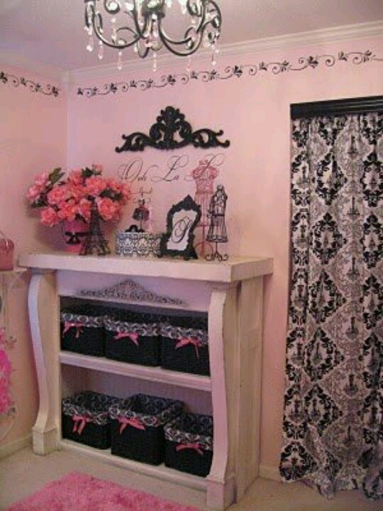 Pink and black shabby chic my makeup room pinterest for Black white pink bedroom ideas