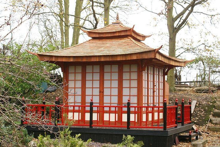 In the middle: The garden's tea house centrepiece holds a collection of Samurai swords, sake jars, lanterns and other Japanese ornaments
