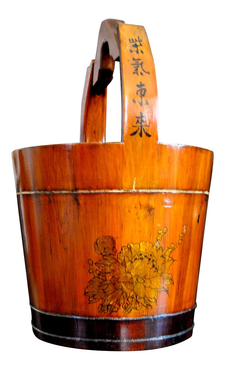 Japanese Wooden Bucket Uchimizu Water Barrel on Chairish.com
