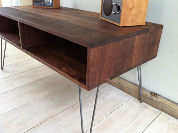 mid century modern tv table entertainment console black walnut with hairpin legs tvs tv. Black Bedroom Furniture Sets. Home Design Ideas