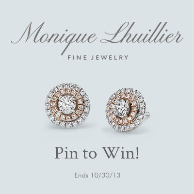 Pin to WIN!  To celebrate the NEW Monique Lhuillier Fine Jewelry Collection, exclusively at Blue Nile, we're giving away the Monique Lhuillier Double Halo Stud Earring in 18k White and Rose Gold to one lucky winner.  #BlueNile #PinToWin #MoniqueLhuillier #FineJewelry #EnterToWin